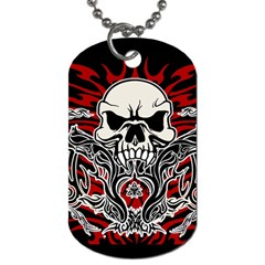 Skull Tribal Dog Tag (two Sides) by Valentinaart