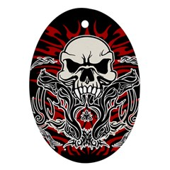 Skull Tribal Oval Ornament (two Sides) by Valentinaart