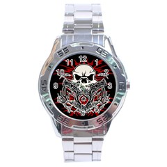 Skull Tribal Stainless Steel Analogue Watch by Valentinaart