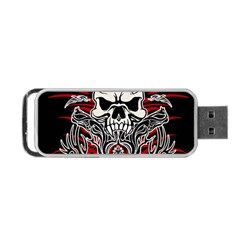 Skull Tribal Portable Usb Flash (two Sides) by Valentinaart