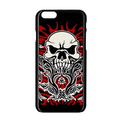 Skull Tribal Apple Iphone 6/6s Black Enamel Case by Valentinaart