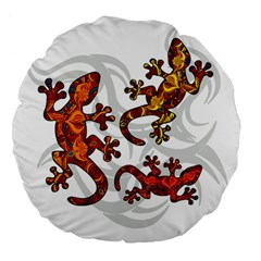 Ornate Lizards Large 18  Premium Flano Round Cushions by Valentinaart