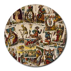 Tarot Cards Pattern Round Mousepads by Valentinaart