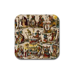Tarot Cards Pattern Rubber Square Coaster (4 Pack)  by Valentinaart