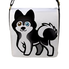 Alaskan Malamute Cartoon Flap Messenger Bag (l)  by TailWags