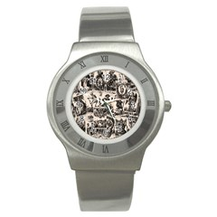 Tarot Cards Pattern Stainless Steel Watch by Valentinaart