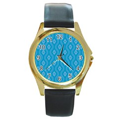 Blue Ornamental Pattern Round Gold Metal Watch by TastefulDesigns