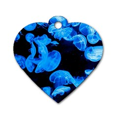 Jellyfish  Dog Tag Heart (one Side) by Valentinaart