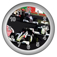 Formula 1 Wall Clocks (silver)  by Valentinaart