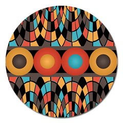 Colorful Geometric Composition Magnet 5  (round) by linceazul