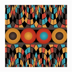 Colorful Geometric Composition Medium Glasses Cloth by linceazul