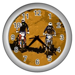 Motorsport  Wall Clocks (silver)  by Valentinaart