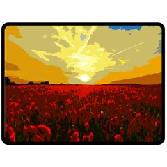 Poppy Field Fleece Blanket (large)  by Valentinaart