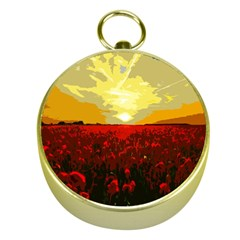 Poppy Field Gold Compasses by Valentinaart