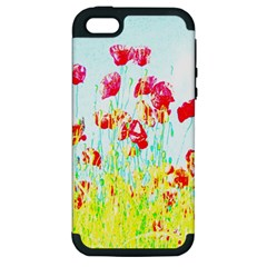 Poppy Field Apple Iphone 5 Hardshell Case (pc+silicone) by Valentinaart
