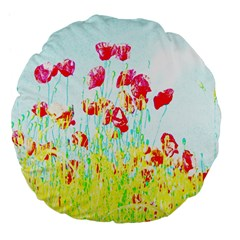 Poppy Field Large 18  Premium Flano Round Cushions by Valentinaart