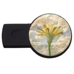 Shabby Chic Style Flower Over Blue Sky Photo  Usb Flash Drive Round (2 Gb) by dflcprints