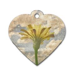 Shabby Chic Style Flower Over Blue Sky Photo  Dog Tag Heart (one Side) by dflcprints