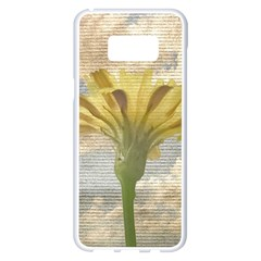 Shabby Chic Style Flower Over Blue Sky Photo  Samsung Galaxy S8 Plus White Seamless Case by dflcprints