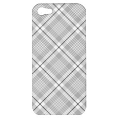 Grey Diagonal Plaid Apple Iphone 5 Hardshell Case by NorthernWhimsy