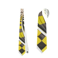 Liquid Taxi Cab, A Yellow Checkered Retro Fractal Necktie (two Sided)
