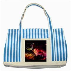 Letter From Outer Space Striped Blue Tote Bag by augustinet