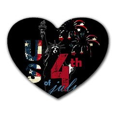 4th Of July Independence Day Heart Mousepads by Valentinaart