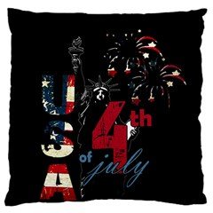 4th Of July Independence Day Large Flano Cushion Case (two Sides)