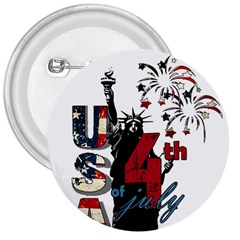 4th Of July Independence Day 3  Buttons by Valentinaart