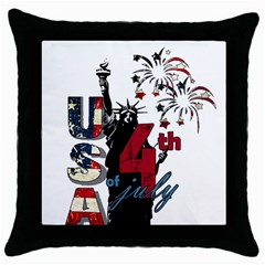 4th Of July Independence Day Throw Pillow Case (black) by Valentinaart