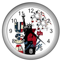 4th Of July Independence Day Wall Clocks (silver)  by Valentinaart