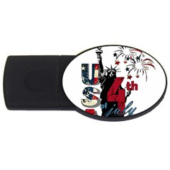 4th Of July Independence Day Usb Flash Drive Oval (2 Gb) by Valentinaart