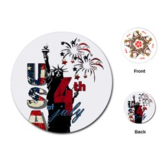 4th Of July Independence Day Playing Cards (round)  by Valentinaart