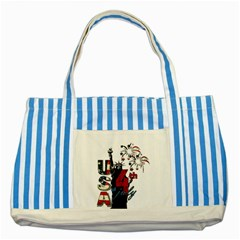 4th Of July Independence Day Striped Blue Tote Bag by Valentinaart
