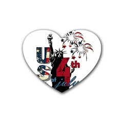 4th Of July Independence Day Heart Coaster (4 Pack)  by Valentinaart