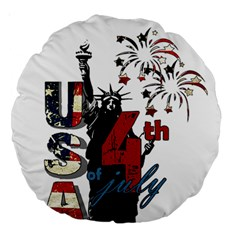 4th Of July Independence Day Large 18  Premium Round Cushions by Valentinaart