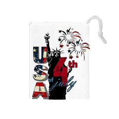 4th Of July Independence Day Drawstring Pouches (medium)  by Valentinaart