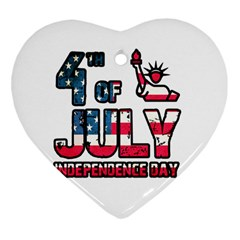 4th Of July Independence Day Heart Ornament (two Sides) by Valentinaart