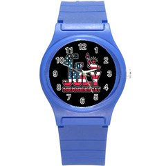 4th Of July Independence Day Round Plastic Sport Watch (s) by Valentinaart