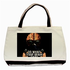 Do What Your Brain Says Basic Tote Bag (two Sides) by Valentinaart