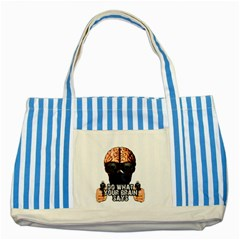 Do What Your Brain Says Striped Blue Tote Bag by Valentinaart