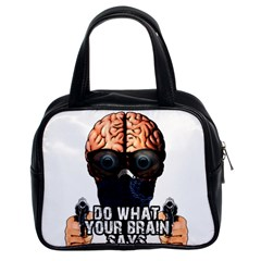 Do What Your Brain Says Classic Handbags (2 Sides) by Valentinaart