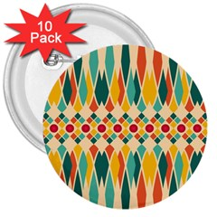 Festive Pattern 3  Buttons (10 Pack)  by linceazul