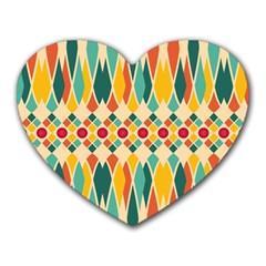 Festive Pattern Heart Mousepads by linceazul