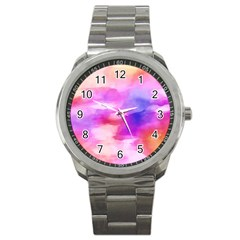 Colorful Abstract Pink And Purple Pattern Sport Metal Watch by paulaoliveiradesign