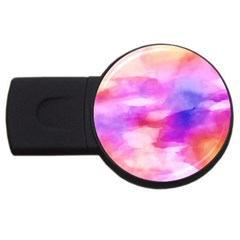 Colorful Abstract Pink And Purple Pattern Usb Flash Drive Round (4 Gb) by paulaoliveiradesign
