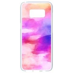 Colorful Abstract Pink And Purple Pattern Samsung Galaxy S8 White Seamless Case by paulaoliveiradesign