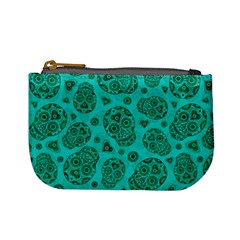 Sugar Skulls   Teal Coin Change Purse