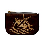 Sparrow Tattoo - Tan & Brown Coin Change Purse Front