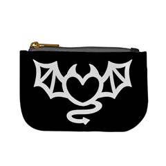 Winged Devil Heart   Black And White Coin Change Purse by Ellador